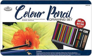 ARTISTS COLOURING PENCIL 36PC DRAWING ART SET in TIN by ROYAL & LANGNICKEL